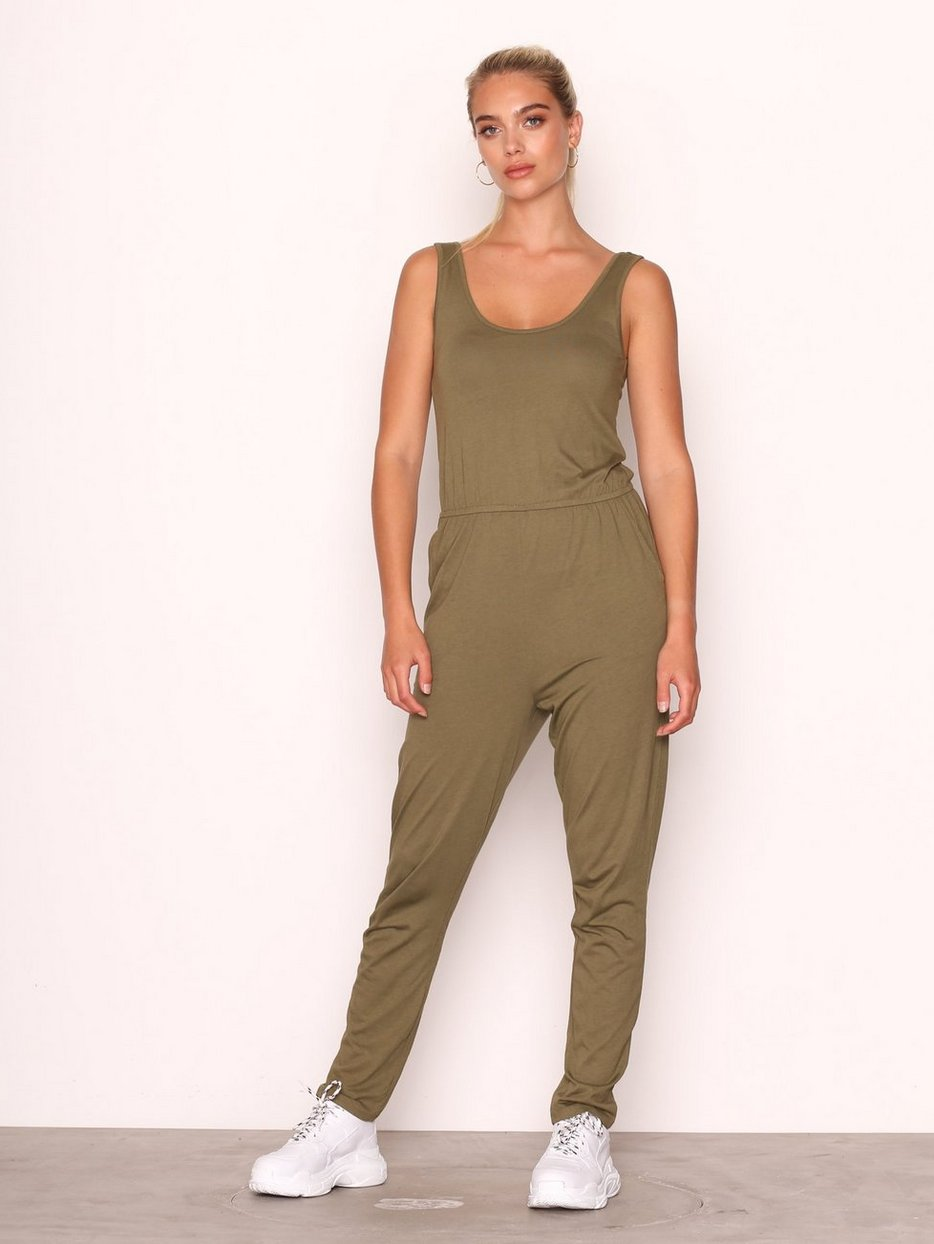 fd1d05b2dadf Jersey Sleeveless Jumpsuit - New Look - Kahki - Jumpsuits - Clothing ...