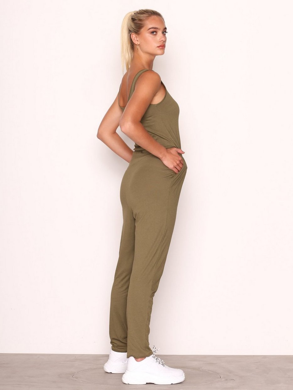 4e8911f54a78 Jersey Sleeveless Jumpsuit - New Look - Kahki - Jumpsuits - Clothing - Women  - Nelly.com