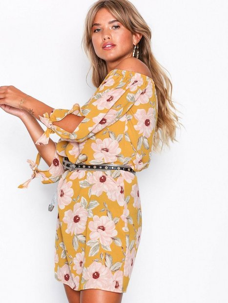 Floral Tie Sleeve Bardot Neck Dress