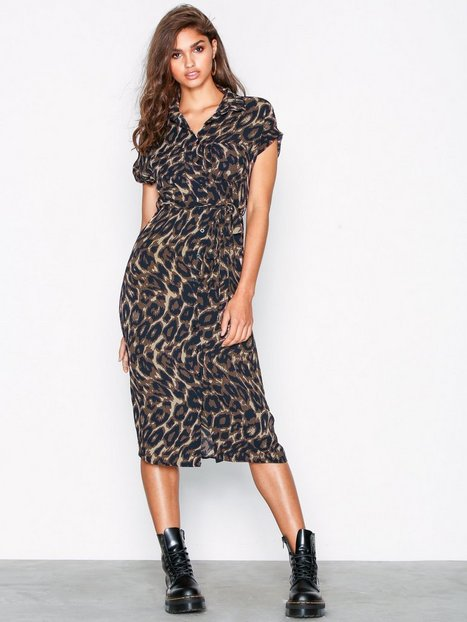 Billede af New Look Animal Print Midi Shirt Dress Maxikjoler Brown