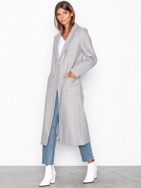 Billede af New Look Bar Back Maxi Coat Frakker Light Grey