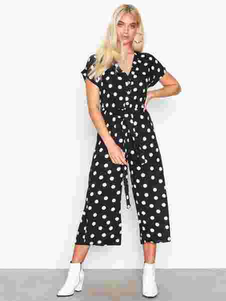 3d756905e00 Spot Print Button Front Jumpsuit - New Look - Black - Jumpsuits ...