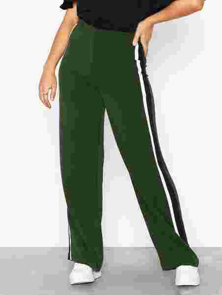 ccb0079f38833 Side Stripe Wide Leg Trousers - New Look - Green - Pants   Shorts ...