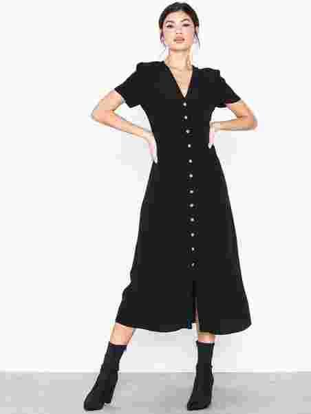 9988e6c18e80 Button Front Midi Tea Dress - New Look - Black - Dresses - Clothing ...