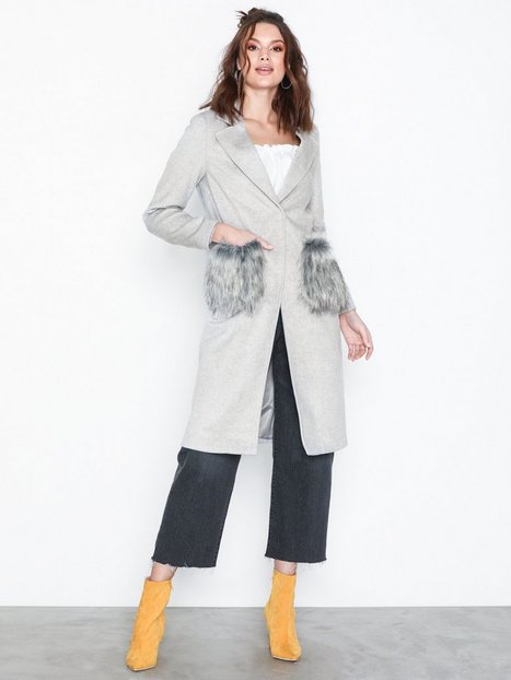 Billede af New Look Faux Fur Pocket Longline Coat Frakker