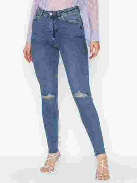 f833900659151 Blue Ripped High Waist Super Skinny Hallie - New Look - Blue - Jeans ...