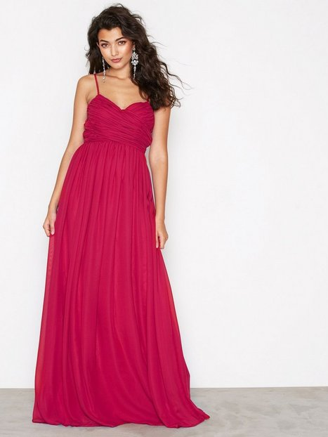 NLY Eve Wrap Bust Long Dress Maxiklänningar Burgundy thumbnail