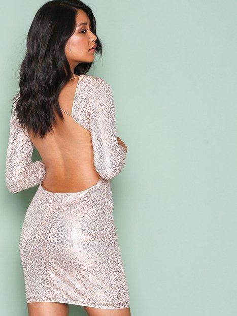 Billede af NLY One Bare Back Sequin Dress Pailletkjoler Champagne