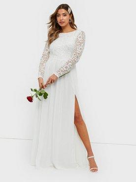 NLY Eve Lace Trim LS Gown Maxiklänningar Vit 44eaa90eb5d62