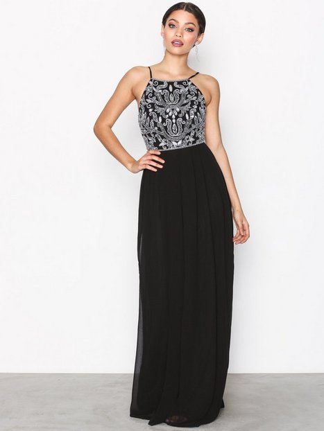 NLY Eve Tight Neckline Beads Gown Maksimekot Musta thumbnail