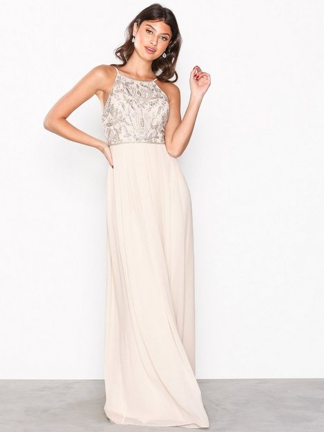 NLY Eve Tight Neckline Beads Gown Maksimekot Champagne thumbnail