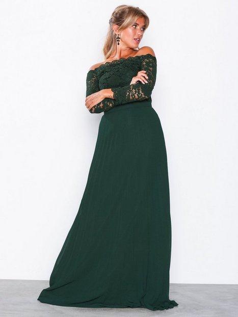 Billede af NLY Eve Off Shoulder Lace Gown Maxikjoler Grøn