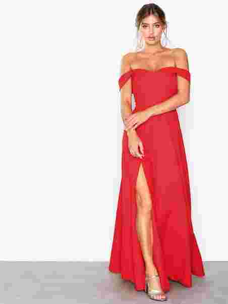 Off Shoulder Flowy Gown - Nly Eve - Red - Party Dresses - Clothing ... 0c5ee05d7