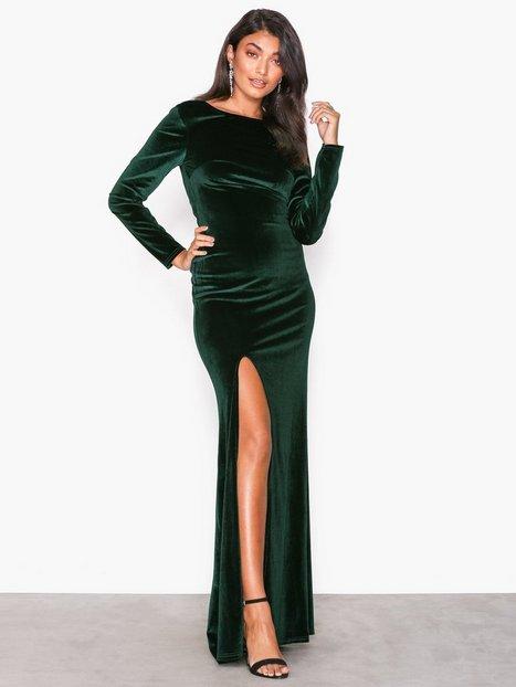 Billede af NLY Eve Twist Back Velvet Gown Maxikjoler Grøn