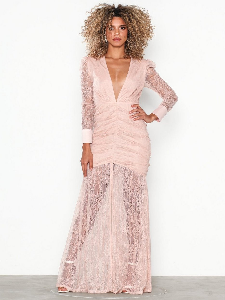 Deep V Lace Gown - Nly Eve - Dusty Pink - Party Dresses - Clothing ... 93bde08de84fd