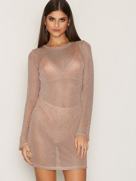 NLY Trend Metallic Knit Dress Loose fit dresses Rose thumbnail