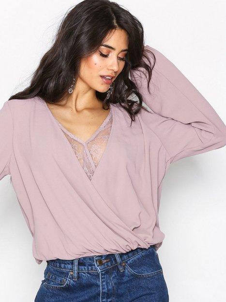 NLY Trend Lace Detailed Wrap Blouse Juhlapaidat Vaalea pinkki thumbnail