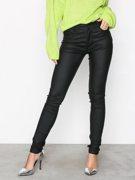 NLY Trend Coated Jeggings Byxor Svart thumbnail