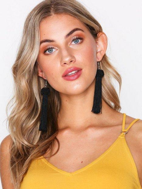 Billede af NLY Accessories Knot & Tassel Earrings Øvrigt smykke Sort