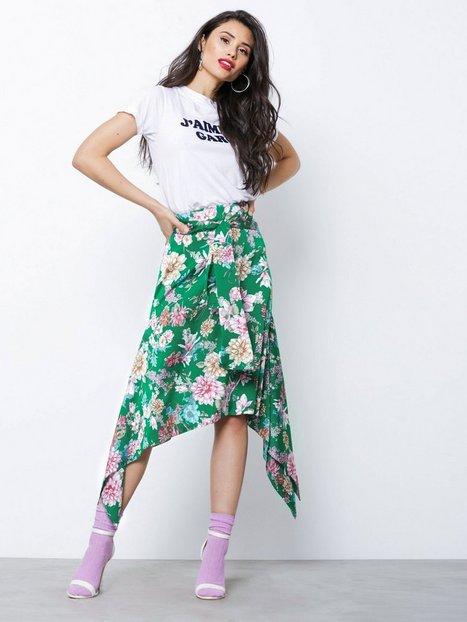 Billede af NLY Trend Asymmetric Hem Skirt Midi nederdele Grøn/Mønstret