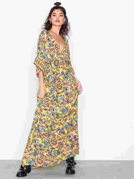 8d5e12fa127745 Boho Maxi Dress - Nly Trend - Geel Motief - Doordeweekse Jurken ...