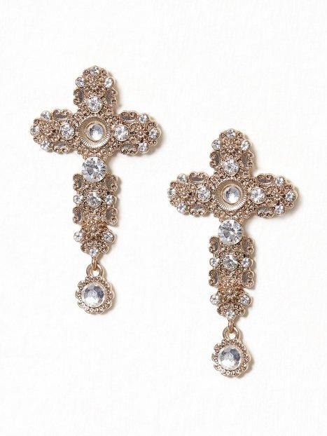 Billede af NLY Accessories Cross Stone Earrings Smykker Guld