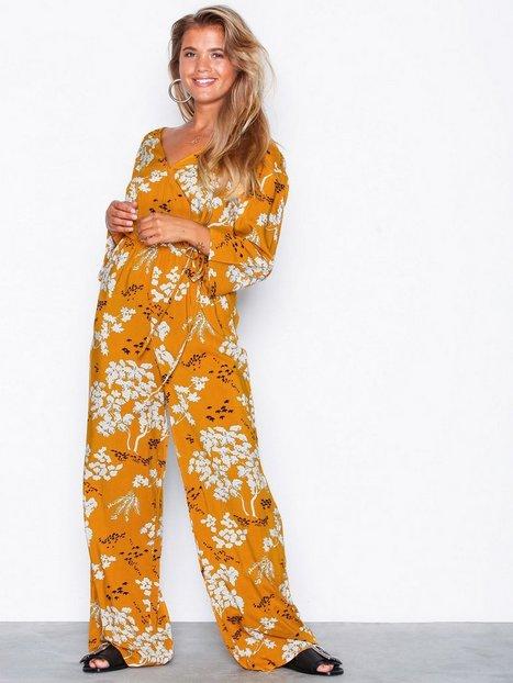 Billede af NLY Trend Boho Wrap Jumpsuit Jumpsuits Gul/Mønstret