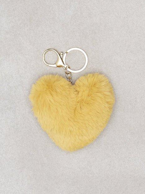 Billede af NLY Accessories Fluffy Heart Keyring Nøgleringe Mustard