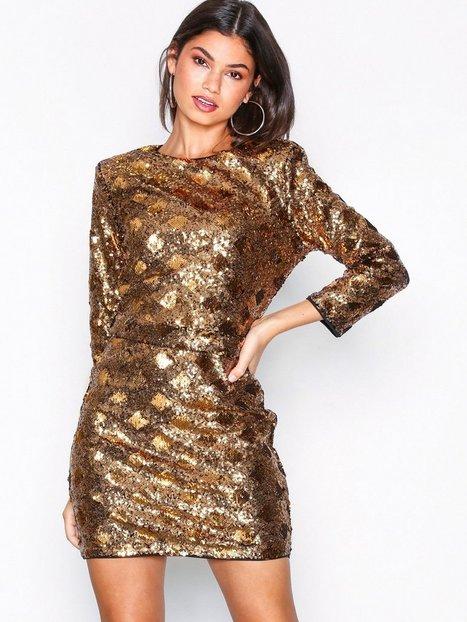 Billede af NLY Trend Belted Sequin Dress Pailletkjoler Guld
