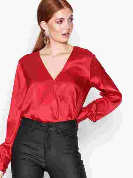 69b53d7a20a686 Wrap Jacquard Blouse - Nly Trend - Red - Blouses & Shirts - Clothing ...