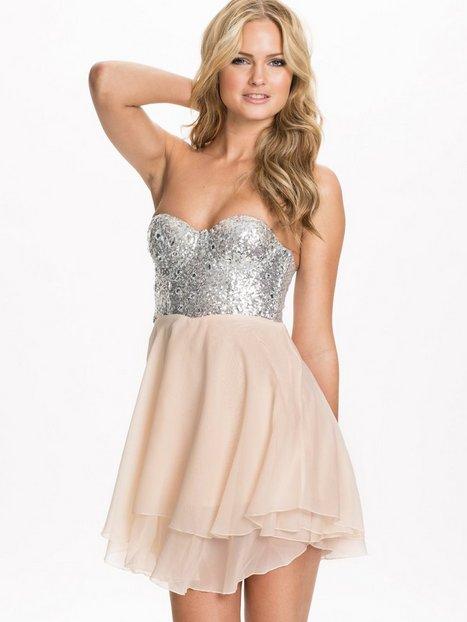 Jewelled Bustier Chiffon Dress - Te Amo - Nude - Party