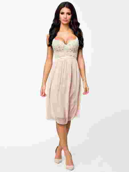 Pearl Bustier Chiffon Dress - Te Amo - Nude/Pink - Party