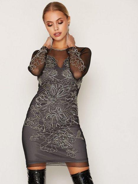Billede af Miss Selfridge Flower Detail Bcon Dress Kropsnære kjoler Black