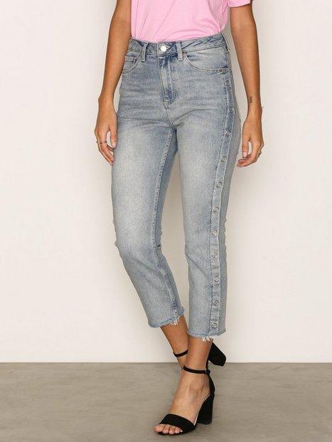 Billede af Topshop MOTO Bleach Popper Side Straight Leg Jeans Loose fit Bleach Acid Wash