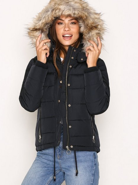 Topshop Quilted Puffer Jacket Dunjackor Navy Blue thumbnail