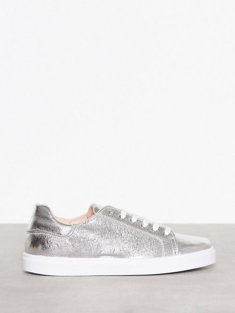 Topshop Metallic Lace Sneaker Low Top Silver thumbnail