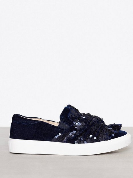 Topshop Twisted Sequin Sneaker Slip-On Navy thumbnail