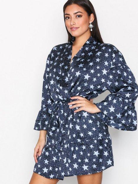 Billede af Topshop Star Print Satin Dressing Gown Morgenkåber Marine