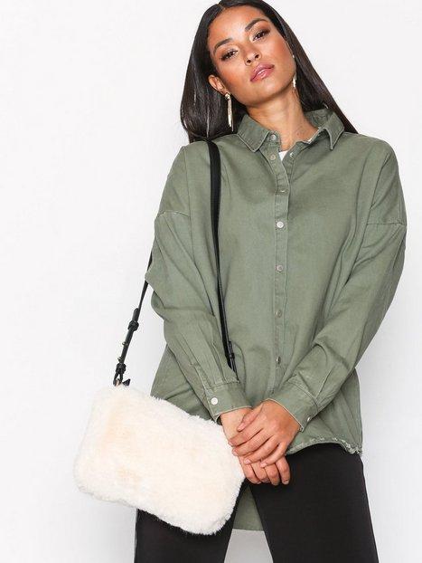 Topshop Faux Fur Cross Body Bag Olkalaukut Cream thumbnail