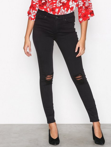Billede af Topshop MOTO Black Ripped Jamie Jeans Skinny Black