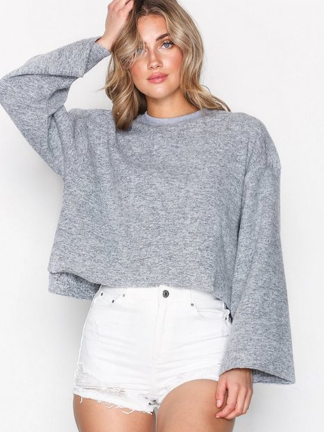Topshop Cut and Sew Sweat Top Stickade tröjor Grey thumbnail