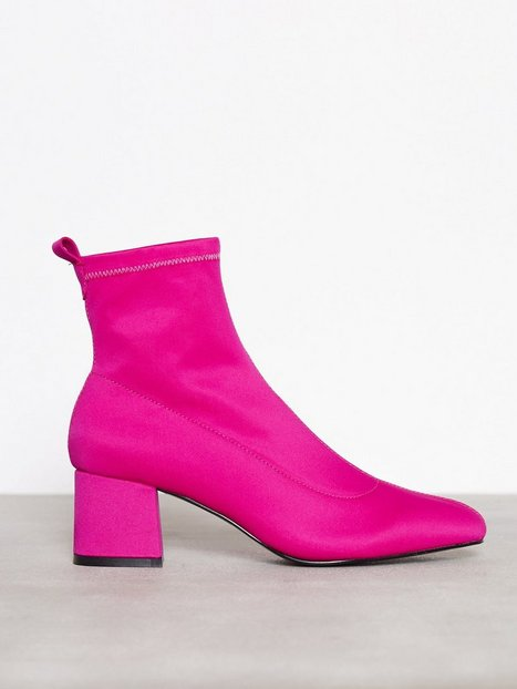 Topshop Buttercup Sock Boots Low Heel Pink thumbnail