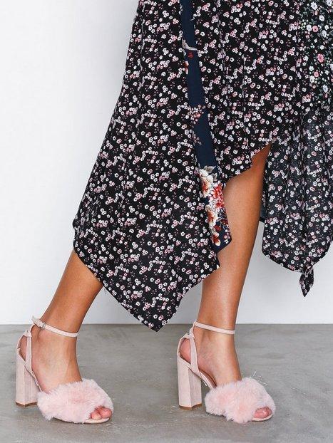 Billede af Topshop Faux Fur Heeled Sandals High Heel Light Pink
