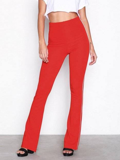 Topshop Side Striped Flare Trousers Housut Red thumbnail