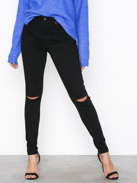 Billede af Topshop Black Rip Jamie Jeans Slim fit Black