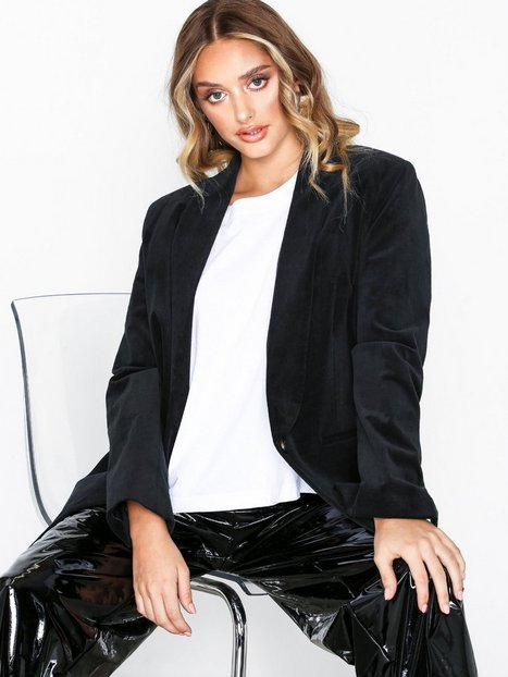 Topshop Velvet Blazer Blazere Black