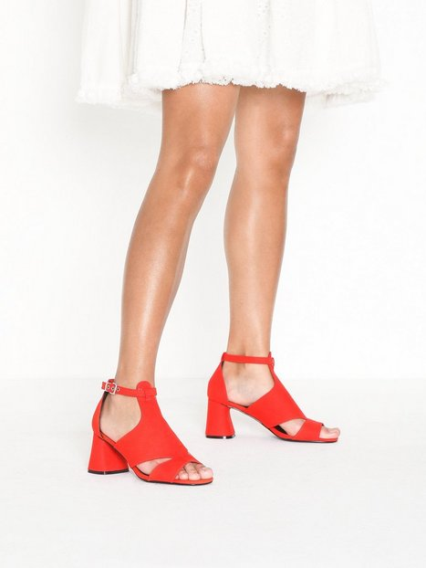 Topshop Cut Out Shoe Boots High Heel Red