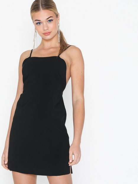 Topshop Black Low Back Mini Slip Dress Festklänningar