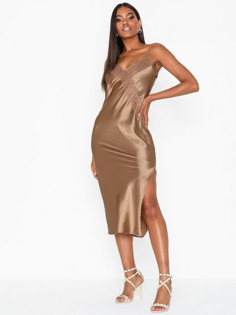 Topshop Bronze Lace Satin Slip Dress Festklänningar