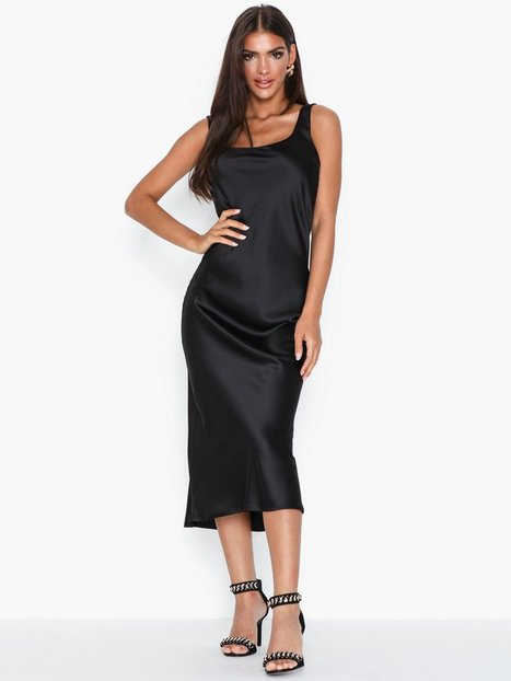 Topshop Black Built Up Slip Dress Festklänningar